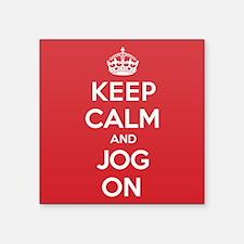 """Keep Calm Jog Square Sticker 3"""" x 3"""""""