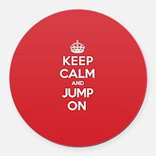 Keep Calm Jump Round Car Magnet