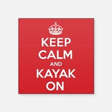 "Keep Calm Kayak Square Sticker 3"" x 3"""