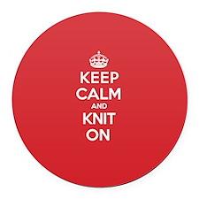 Keep Calm Knit Round Car Magnet