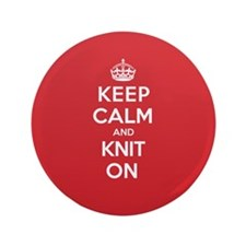 "Keep Calm Knit 3.5"" Button"