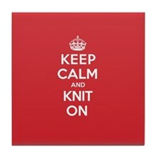 Keep Calm Knit Tile Coaster