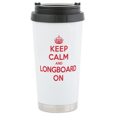 Keep Calm Longboard Stainless Steel Travel Mug