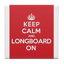 Keep Calm Longboard Tile Coaster