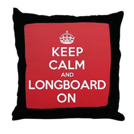Keep Calm Longboard Throw Pillow