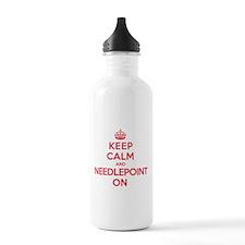 Keep Calm Needlepoint Water Bottle