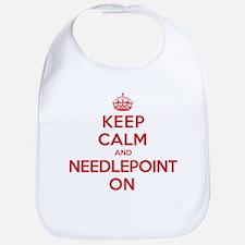 Keep Calm Needlepoint Bib