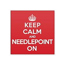"Keep Calm Needlepoint Square Sticker 3"" x 3"""