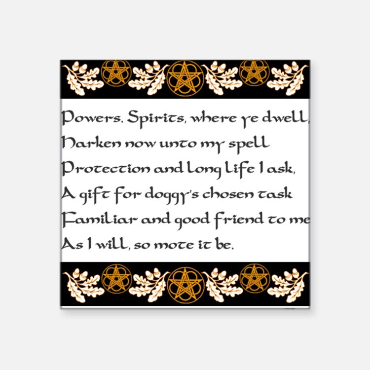 """Pet Protection Spell Square Sticker 3"""" x 3"""""""
