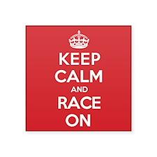 "Keep Calm Race Square Sticker 3"" x 3"""