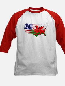 American Welsh Map Kids Baseball Jersey