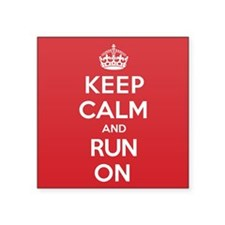 """Keep Calm Run Square Sticker 3"""" x 3"""""""
