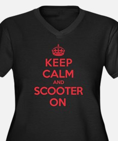 Keep Calm Scooter Women's Plus Size V-Neck Dark T-