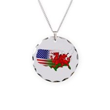 American Welsh Map Necklace Circle Charm