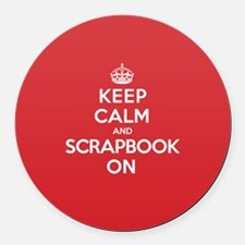 Keep Calm Scrapbook Round Car Magnet