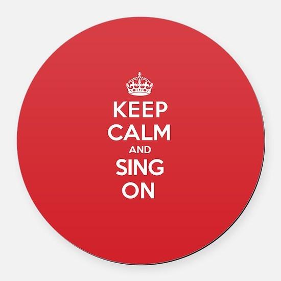 K C Sing On Round Car Magnet