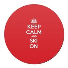K C Ski On Round Car Magnet