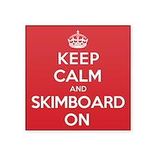 """K C Skimboard On Square Sticker 3"""" x 3"""""""