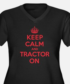 K C Tractor On Women's Plus Size V-Neck Dark T-Shi
