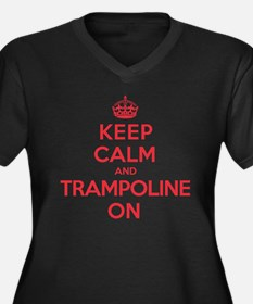 K C Trampoline On Women's Plus Size V-Neck Dark T-