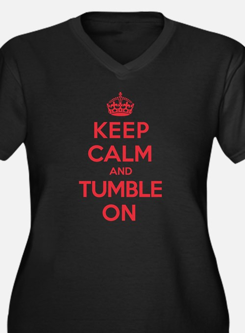 K C Tumble On Women's Plus Size V-Neck Dark T-Shir