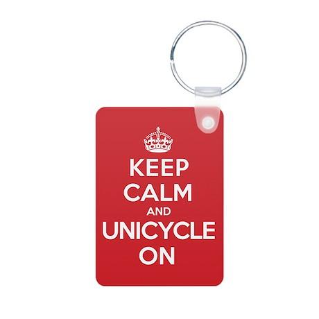 K C Unicycle On Aluminum Photo Keychain