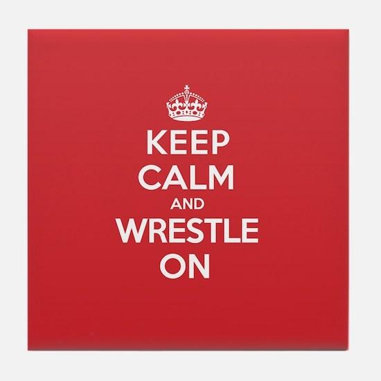 K C Wrestle On Tile Coaster