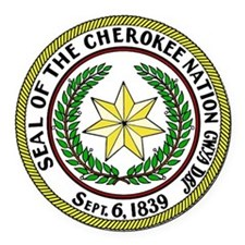 Great Seal of the Cherokee Nation Round Car Magnet
