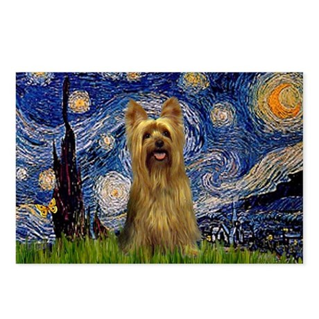 Starry Night Silky Terrier Postcards (Package of 8