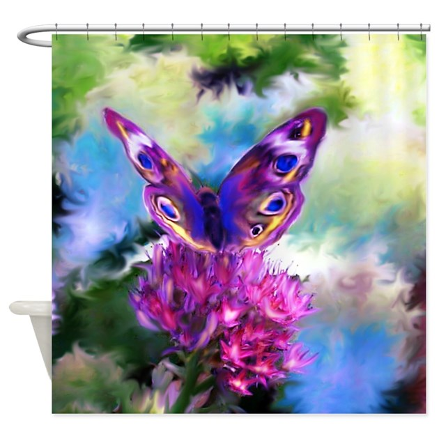 Colorful Abstract Butterfly Shower Curtain By