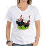 Heavy Breed Roosters Women's V-Neck T-Shirt