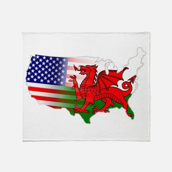 American Welsh Map Throw Blanket