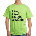 love and music Green T-Shirt