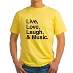 love and music Yellow T-Shirt