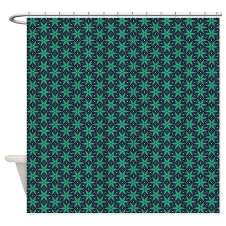 Green and Navy star pattern Shower Curtain