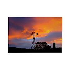 Sunset on the Farm Rectangle Magnet