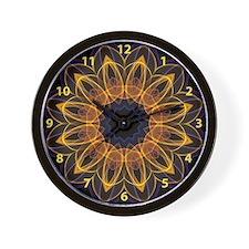 Orange Lotus kaleidoscope with numbers Wall Clock