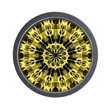 Yellow Arrows kaleidoscope with numbers Wall Clock