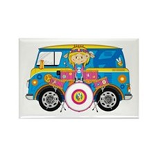 Hippie Girl with Drum Kit Rectangle Magnet