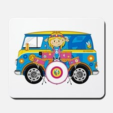 Hippie Girl with Drum Kit Mousepad