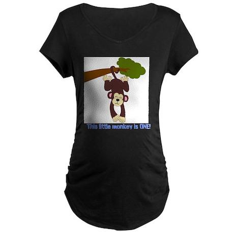 First Birthday Monkey Maternity Dark T-Shirt