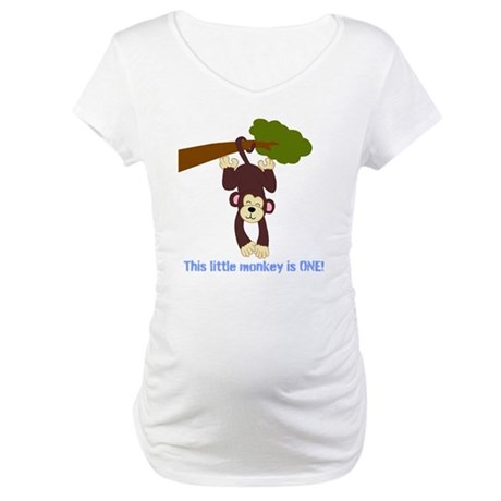 First Birthday Monkey Maternity T-Shirt