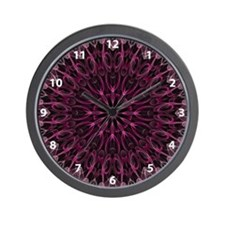 Pink Calla Kaleidoscope with numbers Wall Clock