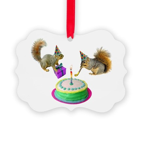 Squirrels Birthday Picture Ornament