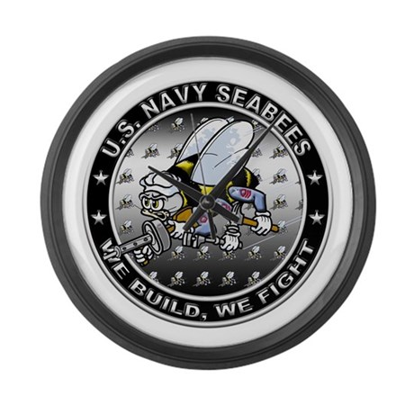 US Navy Seabees Swarm Large Wall Clock
