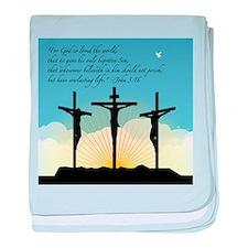 Jesus Crucifixion/John 3:16 baby blanket