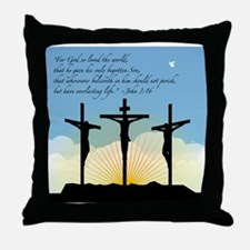 Jesus Crucifixion/John 3:16 Throw Pillow
