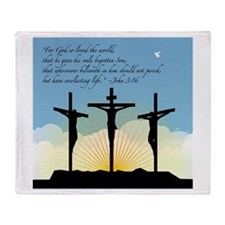 Jesus Crucifixion/John 3:16 Throw Blanket