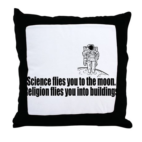 Science flies you to the moon Throw Pillow