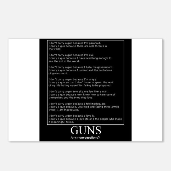 Guns... Any More Questions? Postcards (Package of